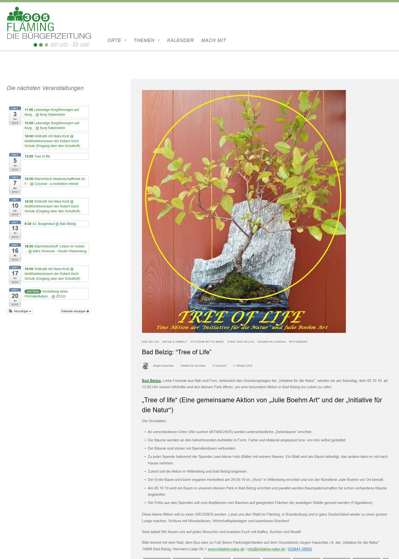 191002_flaemingBuergerzeitung_Tree of Life 01 BadBelzig_ Cafe Vlora Kickoff